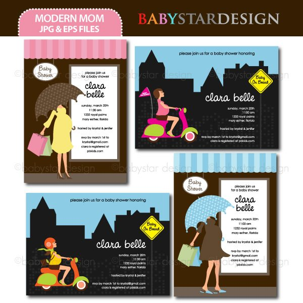 Modern Mom - Invitation Templates  Babystar Design    Mygrafico