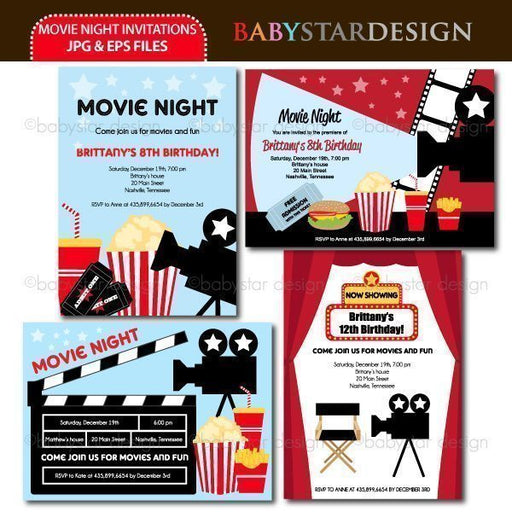 Movie Night - Invitation Templates  Babystar Design    Mygrafico