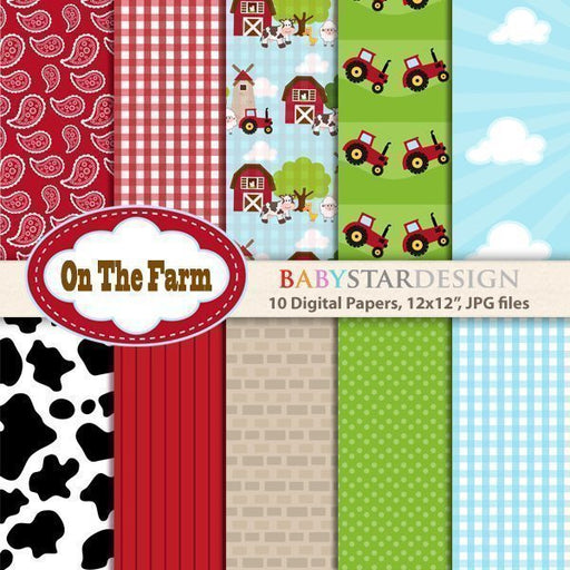 On The Farm Digital Paper Pack  Babystar Design    Mygrafico