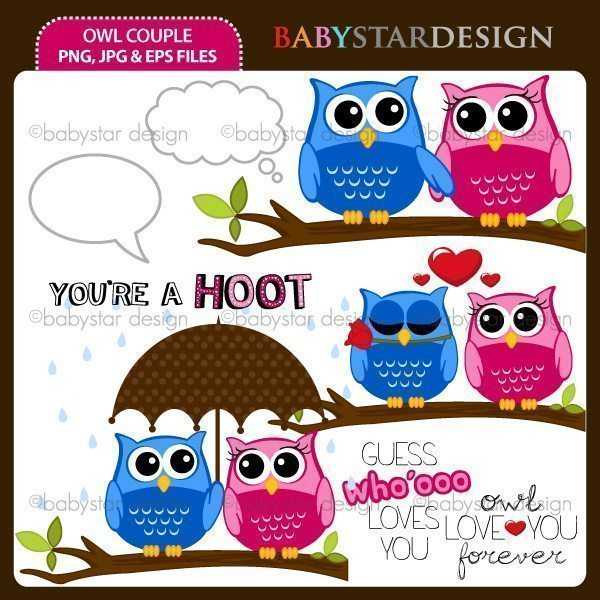 Owl Couple Clipart  Babystar Design    Mygrafico