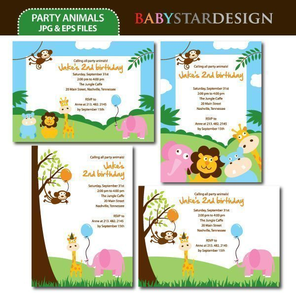 Party Animals Invitations  Babystar Design    Mygrafico