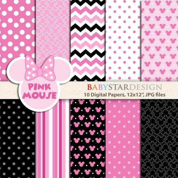 Pink Mouse Digital Paper Pack  Babystar Design    Mygrafico