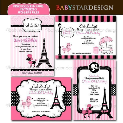 Pink Poodle in Paris - Invitation Templates  Babystar Design    Mygrafico