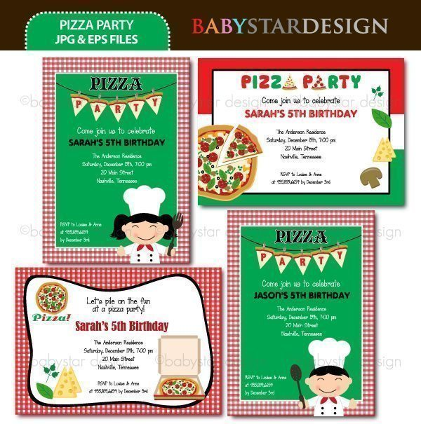 Pizza Party - Invitation Templates  Babystar Design    Mygrafico