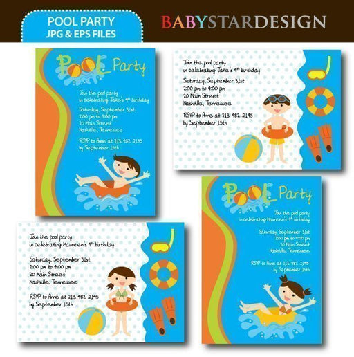 Pool Party Invitation Templates  Babystar Design    Mygrafico