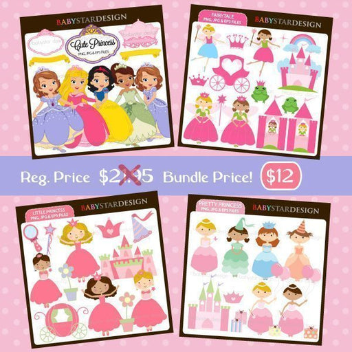 Princess Clipart Bundle Bundles Babystar Design    Mygrafico