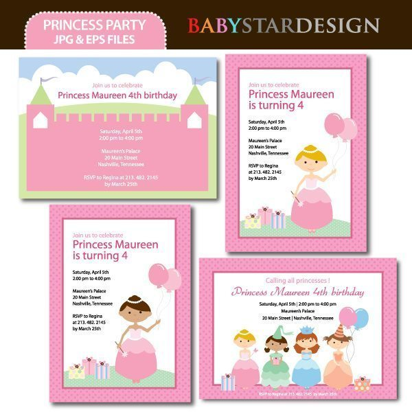 Princess Party Invitations  Babystar Design    Mygrafico