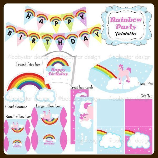 Rainbow Party Set Printables  Babystar Design    Mygrafico