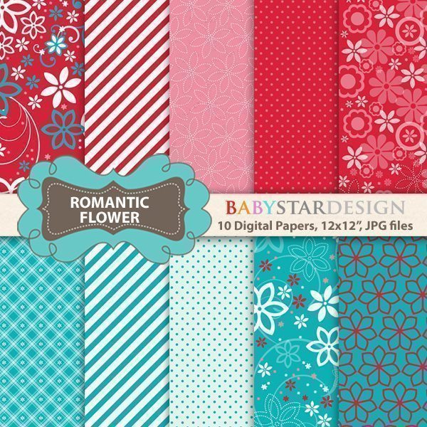 Romantic Flower Digital Papers  Babystar Design    Mygrafico