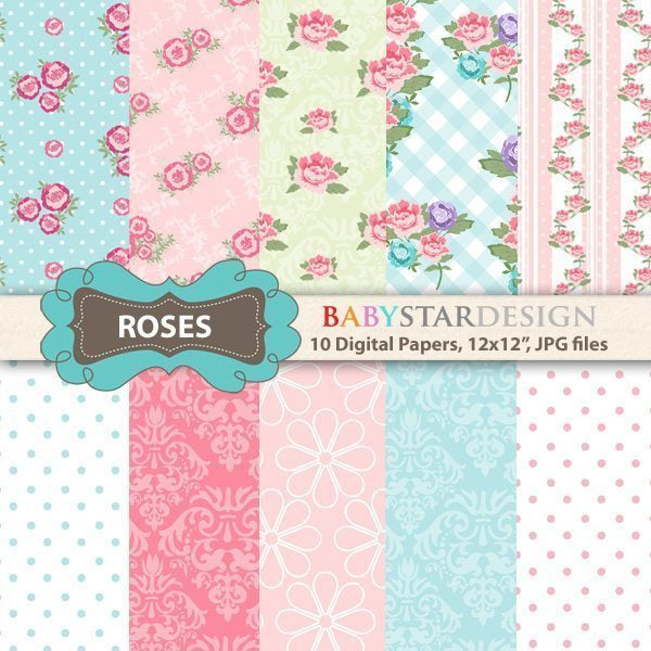 Roses Digital Papers  Babystar Design    Mygrafico