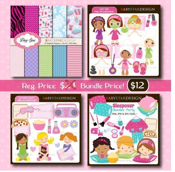 Spa & Slumber Party Clipart Bundle  Babystar Design    Mygrafico