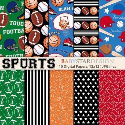 Sports Digital Papers  Babystar Design    Mygrafico