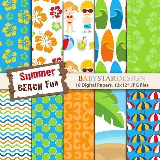 Summer Beach Fun Digital Papers  Babystar Design    Mygrafico