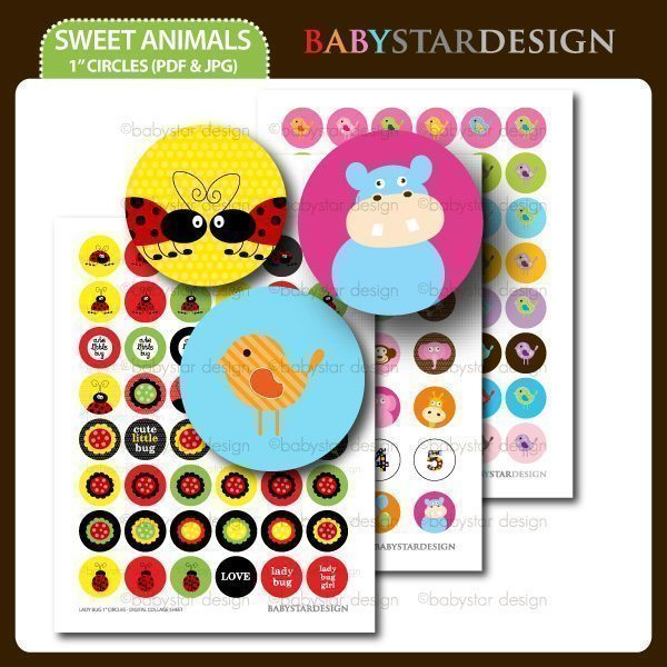 Sweet Animals - 1 Inch Circles  Babystar Design    Mygrafico