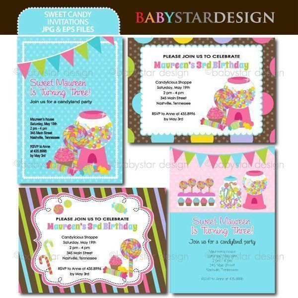 Sweet Candy - Invitation Templates  Babystar Design    Mygrafico
