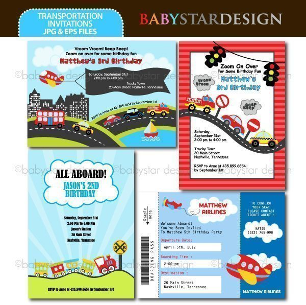 Transportation - Invitation Templates  Babystar Design    Mygrafico