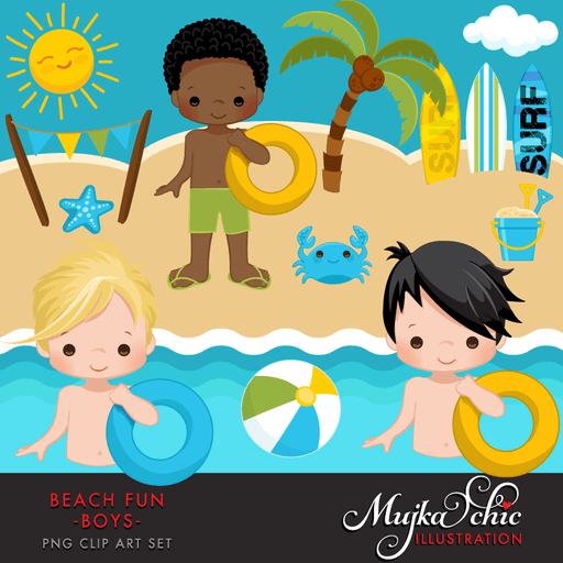 Beach Fun Clipart for Boys