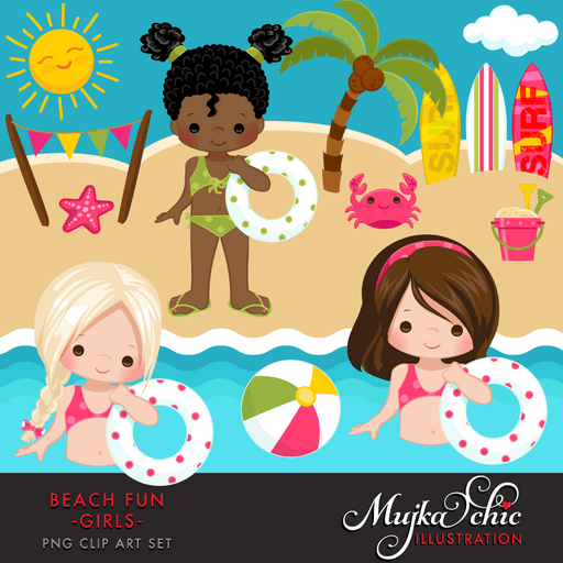 Beach Fun Clipart Girls