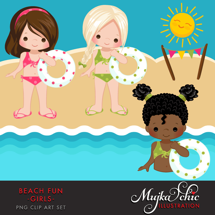 Beach Fun Clipart Girls  Mujka Chic    Mygrafico
