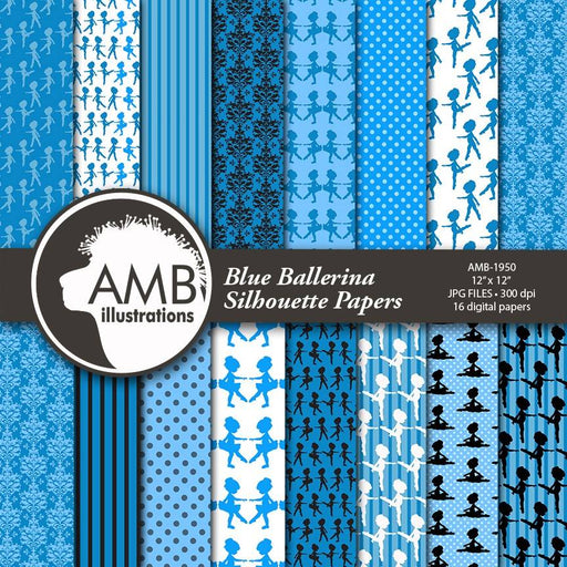 Ballet silhouette digital papers, Ballerina papers, Blue Ballet silhouettes paper, Royal Blue Ballerina papers, Ballet papers, AMB-1950 Digital Paper & Backgrounds AMBillustrations    Mygrafico