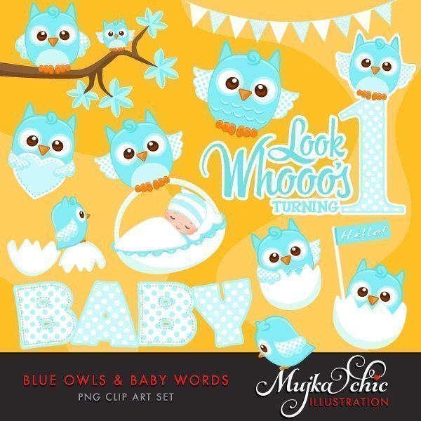 Blue Owls & Baby Words Clipart  Mujka Chic    Mygrafico