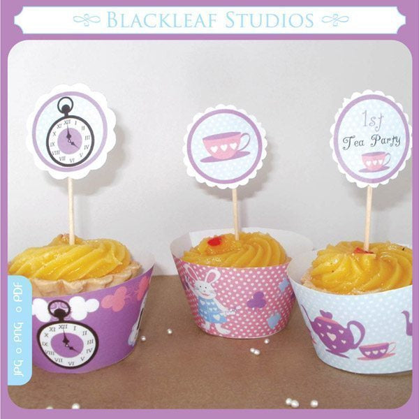 Alice In Wonderland Cupcake Wrappers and Toppers  Blackleaf Design    Mygrafico