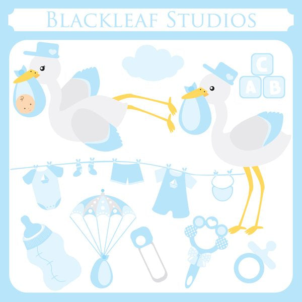 Baby Boy Stork  Blackleaf Design    Mygrafico