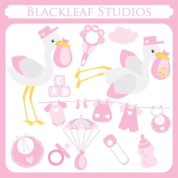 Baby Girl Stork  Blackleaf Design    Mygrafico