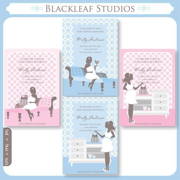 Chic Baby Shower Invitations  Blackleaf Design    Mygrafico