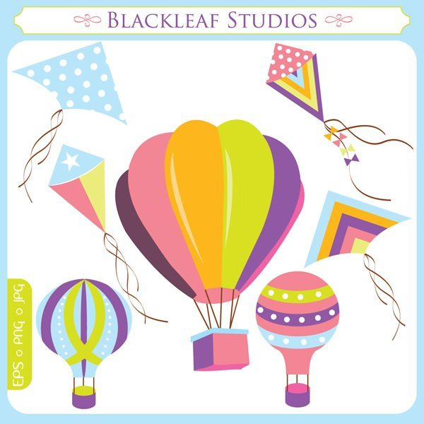 Flying High Kites and Balloons Clipart  Blackleaf Design    Mygrafico