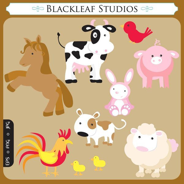 Barnyard Animals Vector Clipart  Blackleaf Design    Mygrafico
