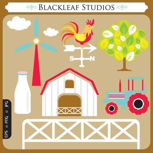 Barnyard Farmhouse Vector Clipart  Blackleaf Design    Mygrafico