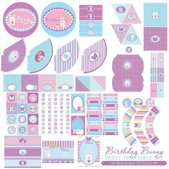Birthday Bunny Party Set  Blackleaf Design    Mygrafico