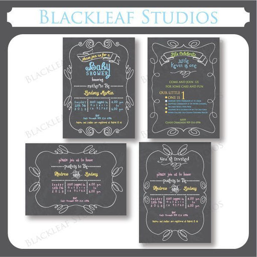 Chalkboard Invitations  Blackleaf Design    Mygrafico