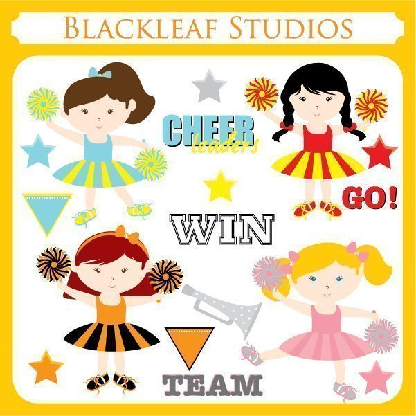 Cheer Leaders Clipart  Blackleaf Design    Mygrafico