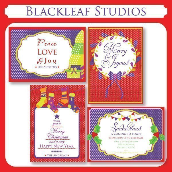 Christmas Greetings and Invitations  Blackleaf Design    Mygrafico