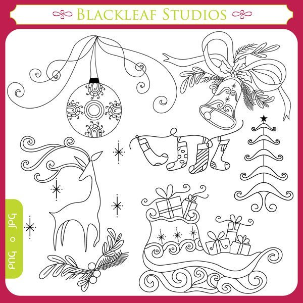 Traditional Christmas Stamps  Blackleaf Design    Mygrafico