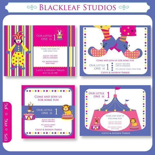 Circus Invitations  Blackleaf Design    Mygrafico