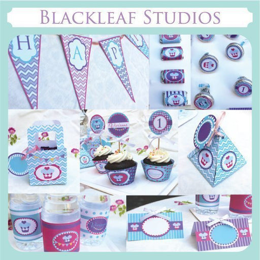 Cupcake and Bunting Party Set  Blackleaf Design    Mygrafico