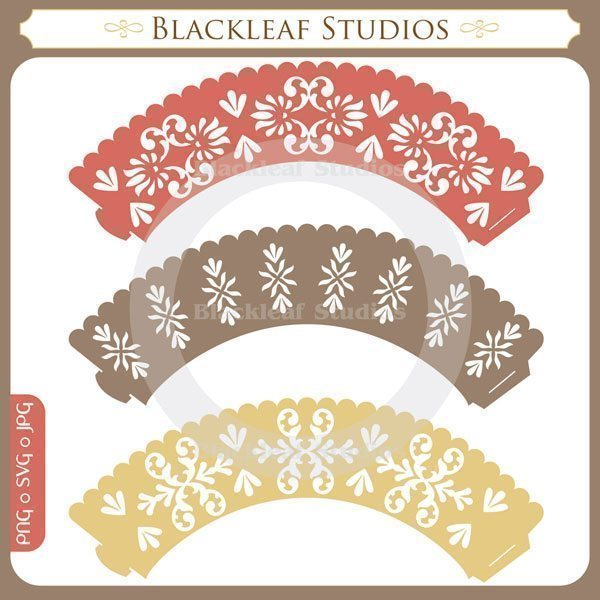 Damask Cupcake Wrappers  Blackleaf Design    Mygrafico