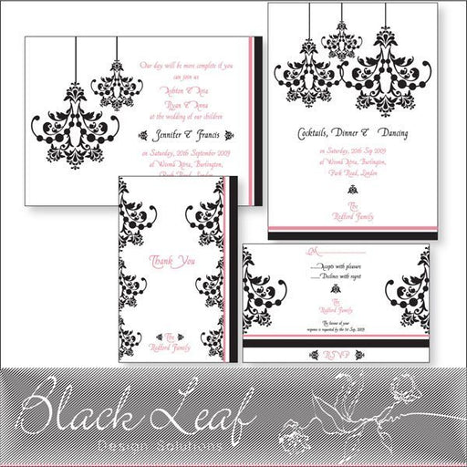 Damask Wedding Card Set  Blackleaf Design    Mygrafico