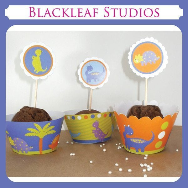 Dino Cupcake Wrappers and Toppers  Blackleaf Design    Mygrafico