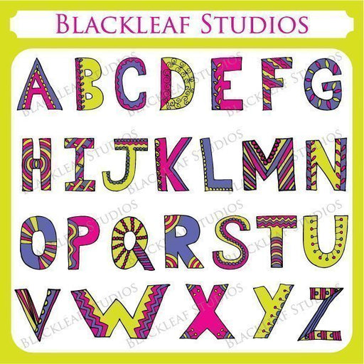 Doodle Alphabets Uppercase  Blackleaf Design    Mygrafico