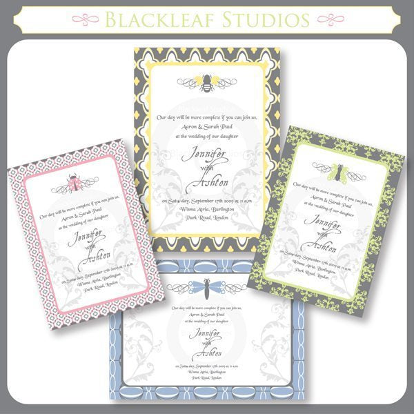 Elegant Garden Invitations  Blackleaf Design    Mygrafico