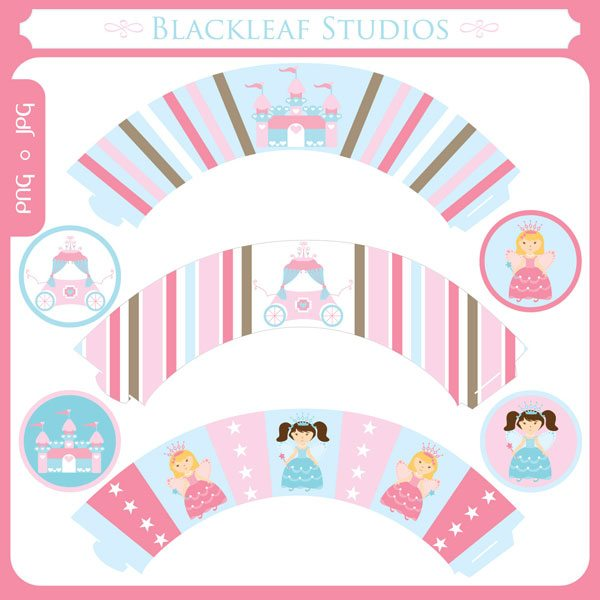 Fairy Princess Cupcake Wrapper & Topper Set  Blackleaf Design    Mygrafico