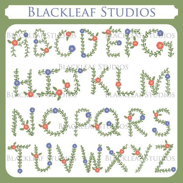 Floral Hand Drawn Alphabets Flowers A to Z Clip Art Cliparts Blackleaf Design    Mygrafico