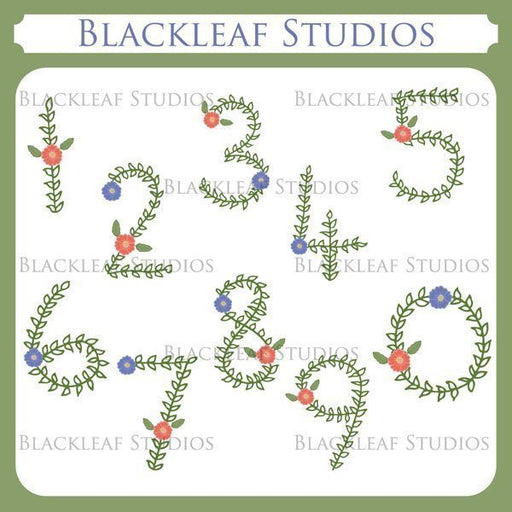 Floral Hand Drawn Numbers or Numerals Flowers 0 to 9 Clip Art  Blackleaf Design    Mygrafico