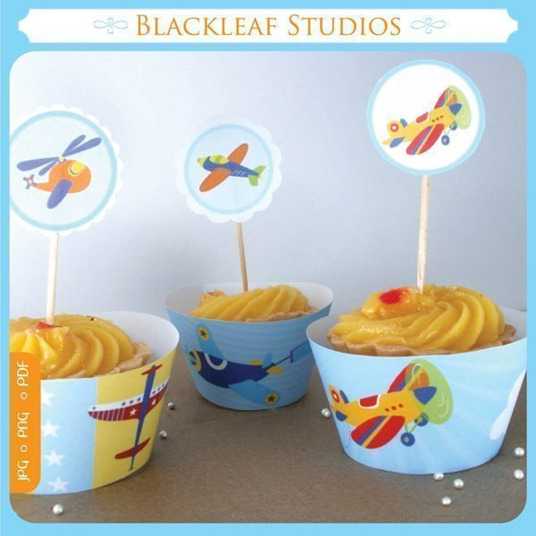Flying High Cupcake Wrappers and Toppers  Blackleaf Design    Mygrafico