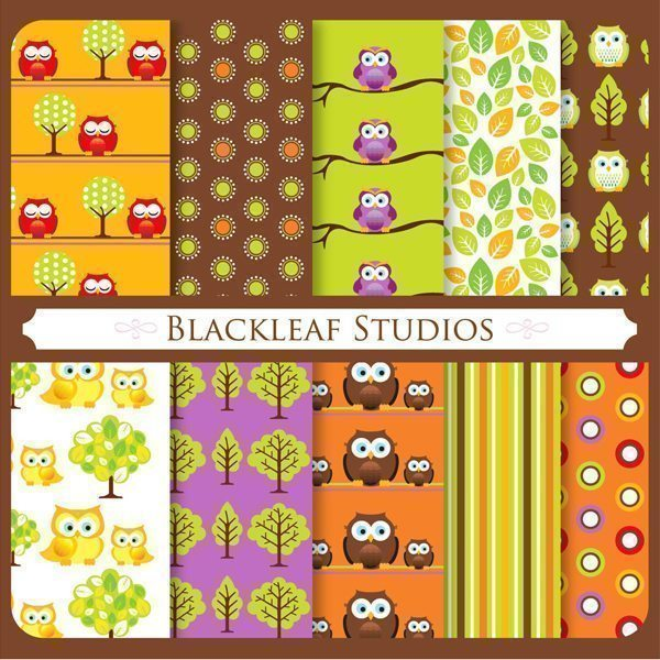 Fun Owls Patterns  Blackleaf Design    Mygrafico