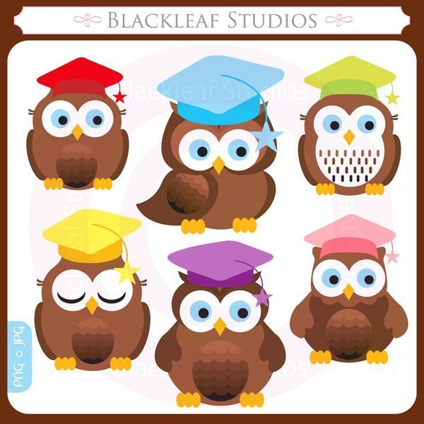 Graduation Owls Vector Clipart  Blackleaf Design    Mygrafico